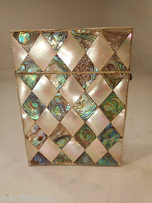 Antique Abalone & Mother of Pearl Card Case   ref 2400