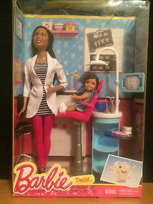 Barbie Careers Dentist - African American Doll and Patient Playset - New