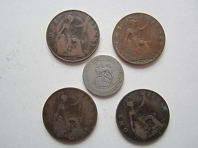 11. George V coins, 1916 to 1921, Penny, Shilling, 5 coins.