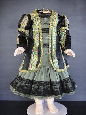 """French Doll Dress+Jacket- Antique Style Jumea.,Bru. 24-26""""doll - Made in France."""