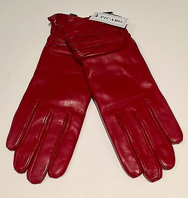 Woman's Gloves Cotton RED Winter Driving Walking GENUINE LEATHER LARGE