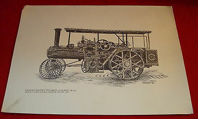 Sawyer-Massey Steam Traction Engine 76HP (George Rickard Pen & Ink Reproduction)
