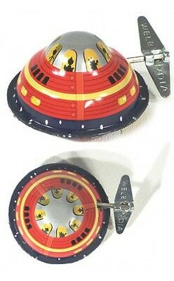 Classic Tin Toy Space Flying Saucer With Mystery Action Clockwork Wind-Up  New!