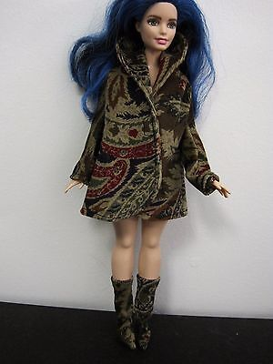 """Curvy Barbie Doll Clothes/shoes *handmade Coat & Boots*  """"new"""""""