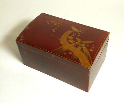 ANTIQUE JAPANESE LACQUER WOOD BOX old vintage early bird Japan