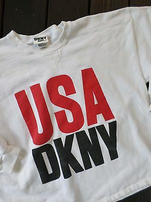 DKNY Donna Karan USA true vintage white logo cropped sweatshirt ONE SIZE XL
