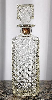 Vtg Clear Cut Diamond Glass Decanter Liquor Whiskey Square Bottle Stopper 10.5""