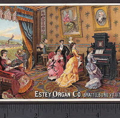 Antique Estey Organ Music Recital Factory Fulton NY Victorian Advertising Card
