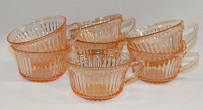 Set Of 7  Hocking Depression Glass Pink Queen Mary Coffee / Tea Cups W/ Handle