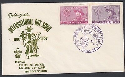 South Korea 1957 Boy Scout Set Cacheted First Day Cover Unadressed