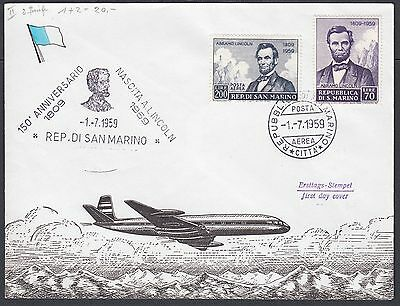 San Marino Italy 1959 Abraham Lincoln Set On Two First Day Covers