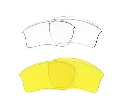 New Replacement Clear&yellow Xlj Lens For Oakley Flak Jacket Sunglasses