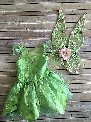 Disney Store Tinkerbell Costume Girls Size M 7/8 Large Wings Green Fairy Dress
