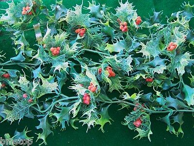 7Ft Vintage Plastic Mistletoe & Flocked Holly Berry Christmas Garland Htf!
