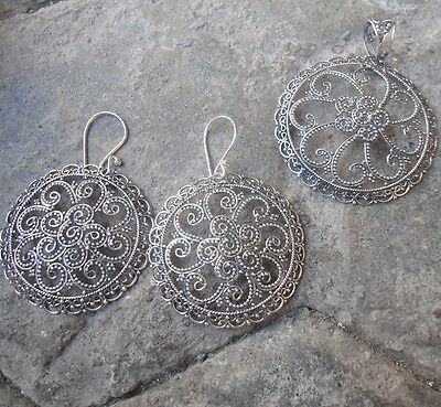 New April-925 Sterling Silver Balinese Filigree jewellery Set Pendant & Earring
