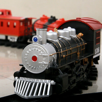 Educational Electric Train Set Kids Toys Battery Operated Railway Car Xmas Gift