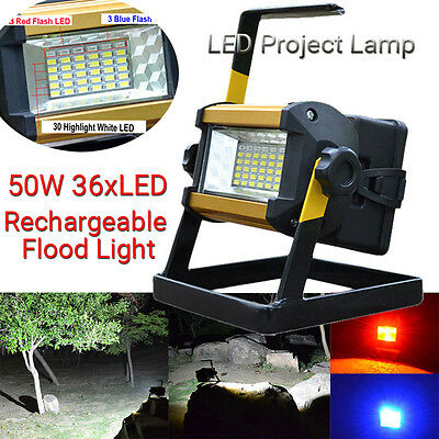 50W 36 LED Portable Rechargeable Flood Light Spot Work Camping Fishing Lamp LOT