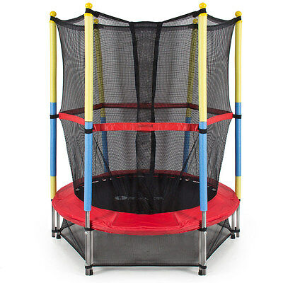 """55"""" Round Kids Jumping Trampoline Combo with Enclosure Net Pad Bounce Safety"""