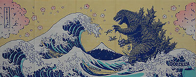 Tenugui Godzilla & Hokusai's Great Wave w/Sakura Cotton Gojira Japanese Fabric