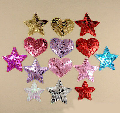 1 Pc Embroidered Sew Iron on Patch Badge Sequin Star Heart Shape Applique DIY
