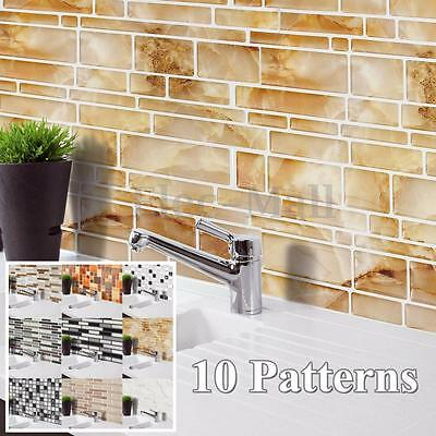 3D Wall Sticker Tile Brick Self-adhesive Mosaic Kitchen Bathroom Home Decor