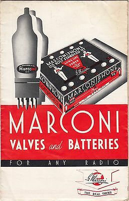 Marconi Valves & Batteries For Any Radio RARE 1937 Leaflet Catalogue