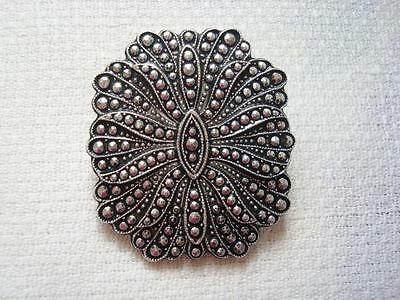 Vintage Silver Tone Faux Marcasites Scarf Ring Clip West Germany