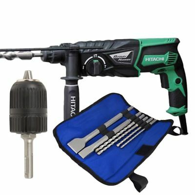 Hitachi DH26 PX 240V SDS+ Rotary Hammer Drill 3-Mode with Chuck, 4 SDS Drill Bit