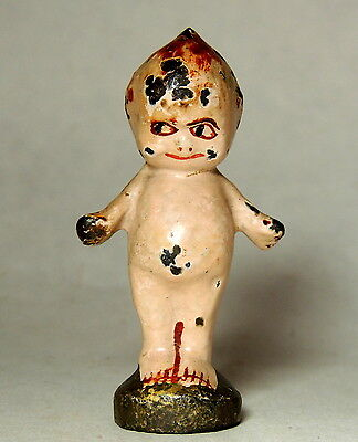 "1920s Antique vtg 3"" Cast Iron KEWPIE Boy Doll PAPERWEIGHT Original Paint"