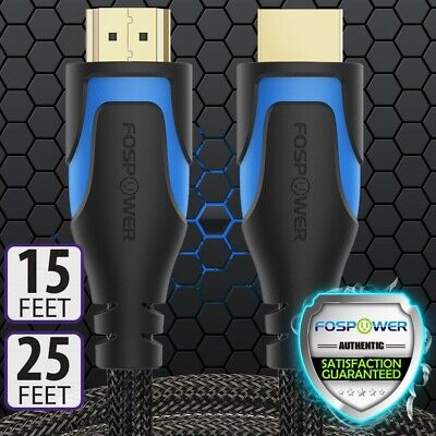 High Speed HDMI 2.0 CL3 Cable 15 25 FT Braided 4K UHD 3D Ethernet Xbox One PS4