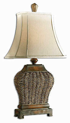 """Augustine Mahogany Brown Wicker/Iron Table Lamp 30""""H by Uttermost 27502"""
