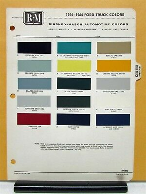 1954 1955 1956 1957 1958 1959 1960 1961 1962 1963 1964 Ford Truck Paint Chips