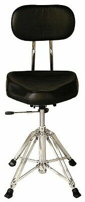 Percussion Plus ADT330 Padded Hydraulic Adjustable Drum Throne Seat w/ Backrest