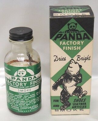 Vintage Panda Bear  Factory Finish Smoke Shoe Polish Bottle & Box Great Graphics