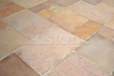 Modac Indian Sandstone Paving Slabs - Modak Rose Patio Stone Flags - Calibrated