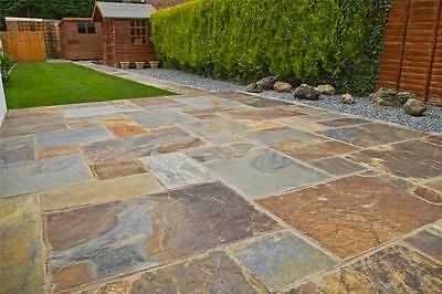 Rustic-Copper Slate Paving Slabs - Garden Patio Stone Flags - Gold Multicolour