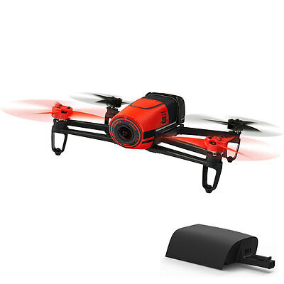 Parrot BeBop Drone 14MP HD 1080p Fisheye Camera Quadcopter Red w/ Extra Battery