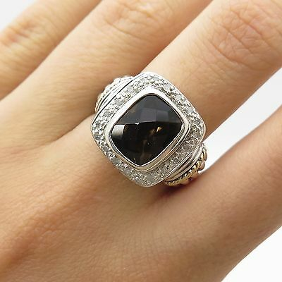 Belk & Co 925 Sterling Silver Gold Real Smoky Topaz Gemstone Diamond Ring Size 7