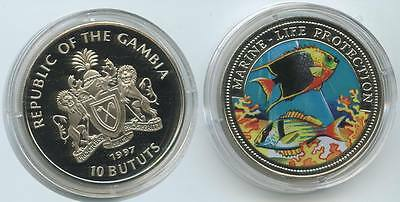 GS119 - Gambia 10 Bututs 1997 KM#64 Marine Life Protection Multicolor Farbmünze