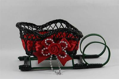 Wicker Wooden Christmas Sleigh Candy Cards Holder