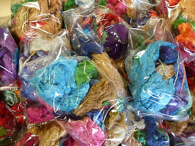 Mulberry Silk Ends Dyed 2 Ounces Multi Colored