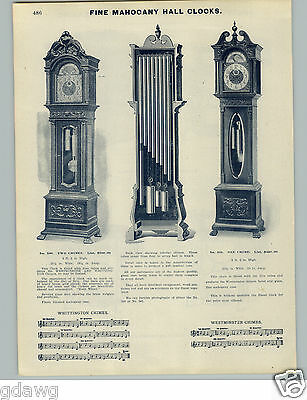 "1905 PAPER AD Mahogany Hall Grandfather Clock 8'5"" Whittington Westminster Chime"