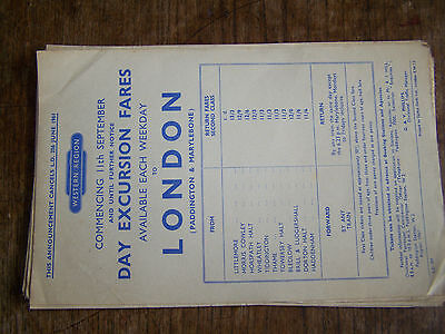 Western Region, Day Excursion Fares,1961, To London From Oxfordshire Etc, Rare.