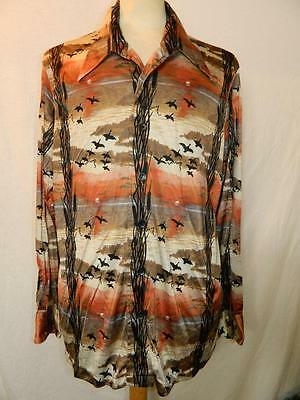 (sts023) Vintage American Original 1970s Silky Disco Shirt, retro by Damon - XL