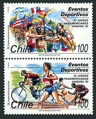 Chile 964-965a pair,MNH. 11th Pan American Games,1991.Runners,torch,basketball,