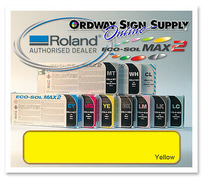 New YELLOW Original OEM Roland Eco-Sol MAX2 Ink 440ml Cartridge