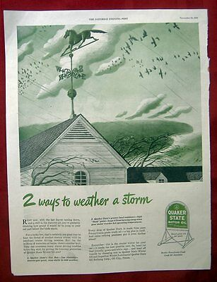 Vintage Ad From 1945 Saturday Evening Post - Quaker State Motor Oil