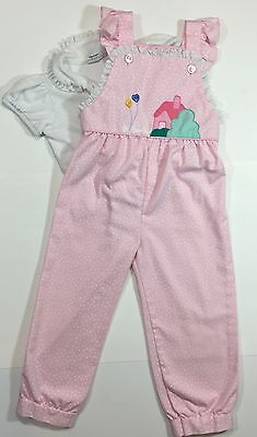 Vintage 80s THOMAS 2pc Toddler Girl 3 Pink Heart Applique Overalls & Top Outfit
