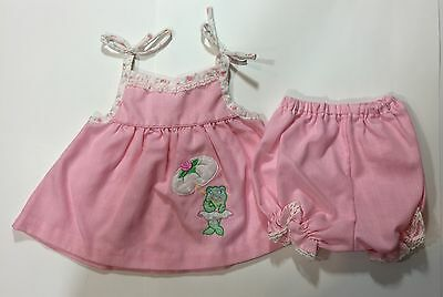 Vintage 80s 2pc Baby Infant Girl Pink Stripe Frog Umbrella Bloomer Set Outfit
