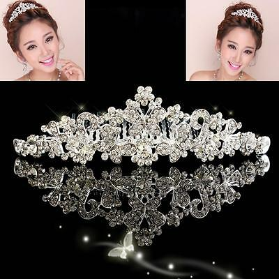 Bridal Princess Austrian Crystal Tiara Wedding Flower Crown Veil Hair Accessory